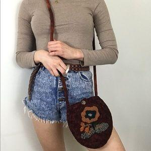Vintage • Woven Orange Flower Boho Crossbody Bag